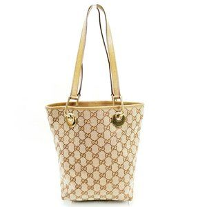 Gucci Tote Bag GGpattern beige PVC x leather Authentic